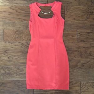 Coral Mini Dress with Gold Accents